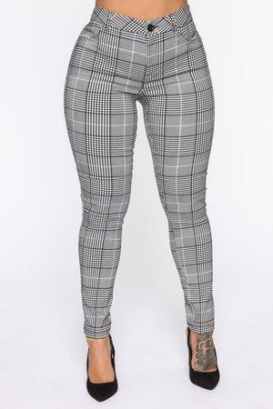 Plaid Pants - Black/White