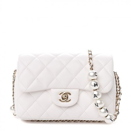 CHANEL Lambskin Quilted Logo Pearls Flap White 537858