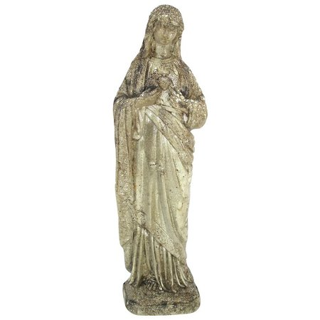 Vintage Immaculate Heart Mother Mary Polished Cement Garden Statue : Utiques Antiques | Ruby Lane