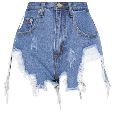 distressed blue denim shorts