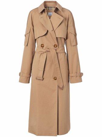 Burberry pocket-detail gabardine trench coat - FARFETCH