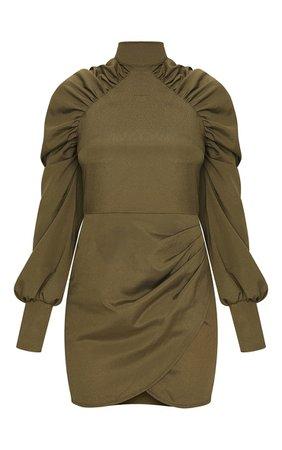 Khaki Long Puff Sleeve High Neck Bodycon Dress   PrettyLittleThing USA