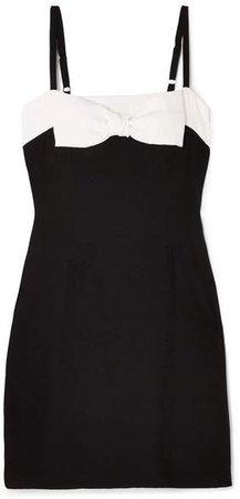 STAUD - Vertigo Bow-embellished Cotton Mini Dress - Black