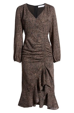 All in Favor Ruffle Long Sleeve High/Low Midi Dress   Nordstrom