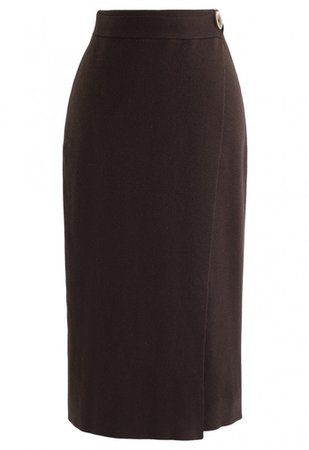 Button Decorated Flap Pencil Knit Skirt in Brown - Skirt - BOTTOMS - Retro, Indie and Unique Fashion