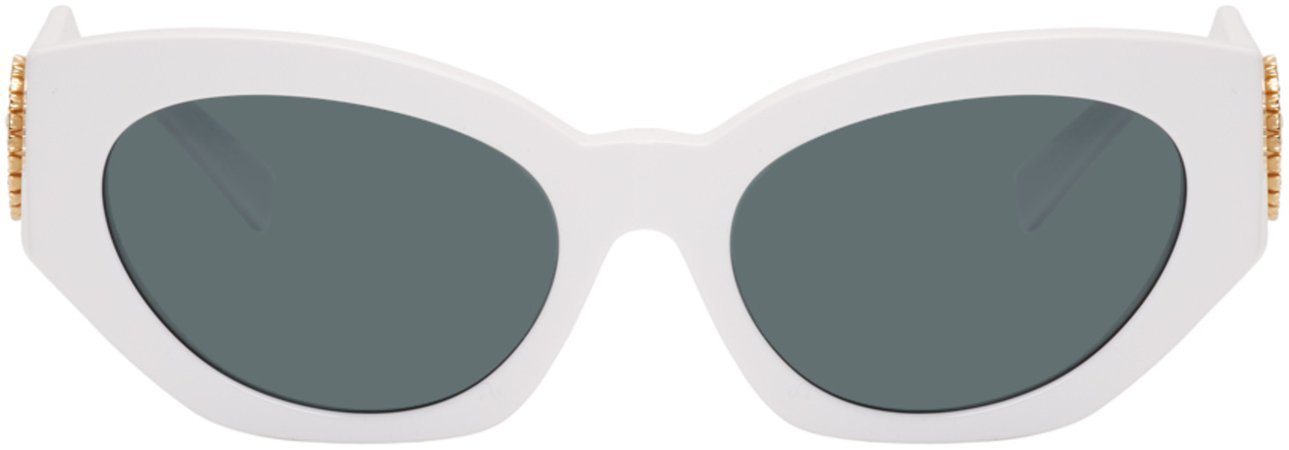 Versace: White V-Medusa Cat-Eye Sunglasses   SSENSE