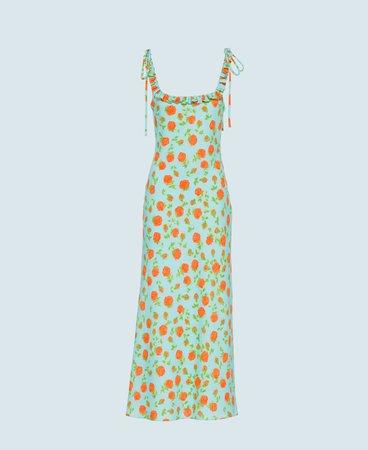 Printed georgette dress Turquoise | Miu Miu