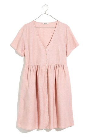 Madewell V-Neck Button Front Linen Blend Minidress | Nordstrom