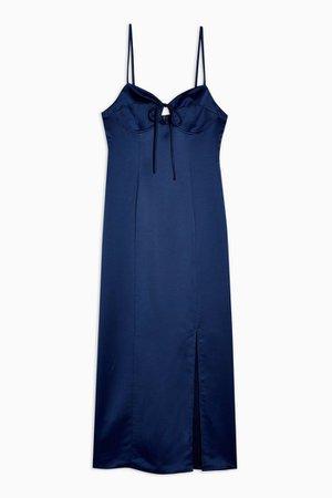 Navy Bustier Midi Slip Dress | Topshop