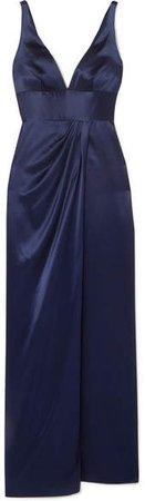 Draped Silk-satin Gown - Navy