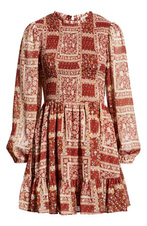 Row A Patchwork Smocked Long Sleeve Minidress | Nordstrom