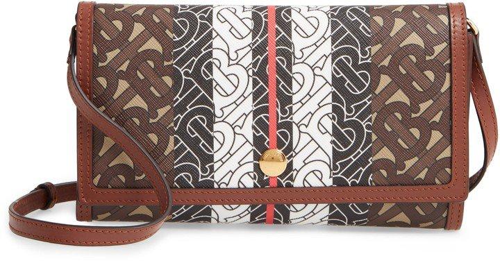 Monogram Stripe E-Canvas Wallet with Detachable Strap