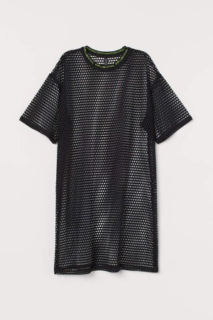 Printed T-shirt Dress - Black