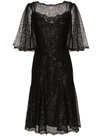 Dolce & Gabbana draped metallic corded lace midi dress with Express Delivery - Farfetch