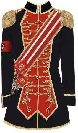 Red, Black & Gold Military Jacket With Sash