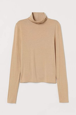 Short Turtleneck Top - Beige