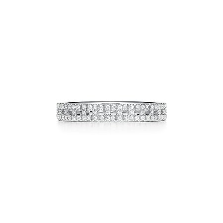 Tiffany T True narrow ring in 18k white gold with pavé diamonds, 3.5 mm wide. | Tiffany & Co.