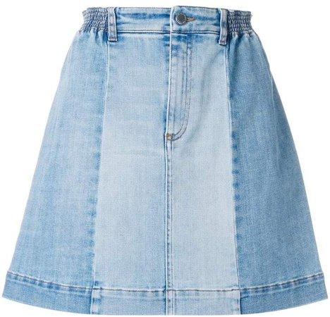 panelled denim skirt