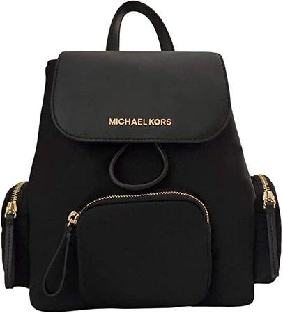 Michael Kors Abbey Medium Cargo Nylon Drawstring Backpack Bag Black