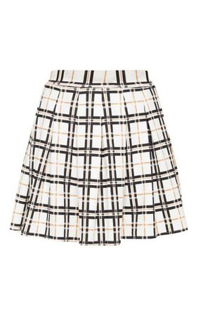 Black Check Tennis Side Split Skirt | Skirts | PrettyLittleThing