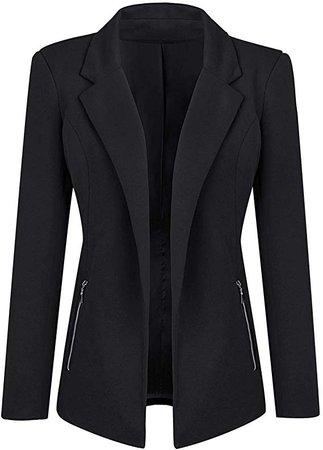 Luyeess Women Casual Long Sleeve Open Front Cardigan Office Work Zip Blazer Suit at Amazon Women's Clothing store