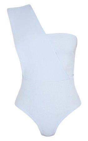 Baby Blue One Shoulder Bodysuit | PrettyLittleThing