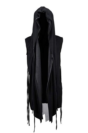 ByTheR Men's Mesh Layerd String Detail Dark Gothic Sleeveless Hooded Cardigan Black at Amazon Men's Clothing store