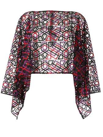 Emporio Armani Embroidered Sheer Blouse Ss20 | Farfetch.com