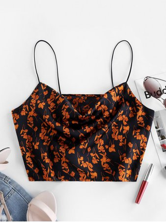 [29% OFF] [HOT] 2020 ZAFUL Floral Bungee Straps Cowl Neck Cami Top In BLACK | ZAFUL