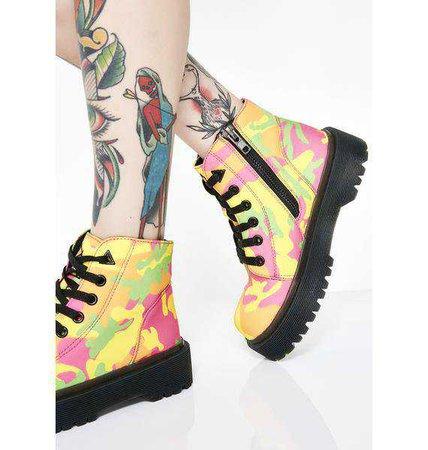 Y.R.U. Slayr Neon Camo Boots | Dolls Kill