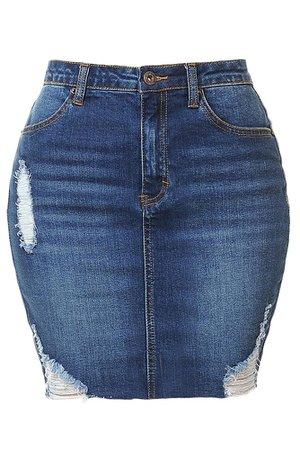 LE3NO Womens Casual High Waist Denim Skirt with Raw Edge Hem   LE3NO blue