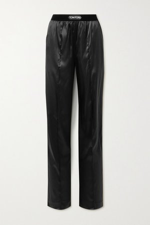 Velvet-trimmed Stretch-silk Satin Pants - Black