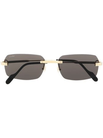 Shop Cartier Eyewear square-frame sunglasses with Express Delivery - FARFETCH
