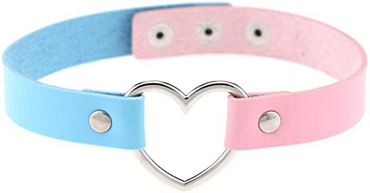 Amazon.com: AKOAK New Fashion Girls Love Heart Choker Double Color PU Leather Collar Punk Collar Choker Necklace Heart Goth Fans Choker Necklace: Sports & Outdoors