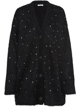 Miu Miu Embellished Oversized Cardigan - Farfetch