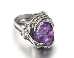Amethyst Crystal Skull Ring