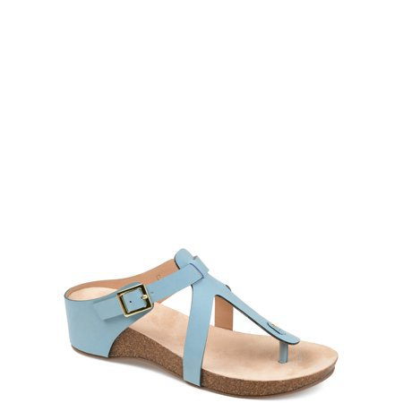 Brinley Co. - Brinley Co. Womens T-strap Wedge Sandal - Walmart.com blue