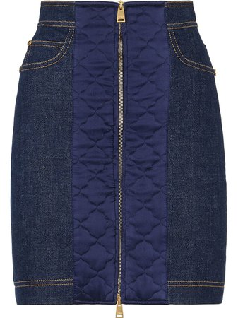 Fendi padded-detail Denim Skirt - Farfetch