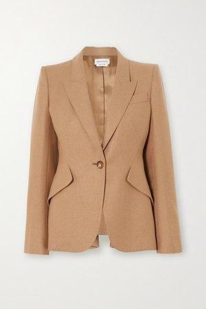 Ruffled Wool Blazer - Beige