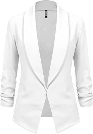Lock and Love Women 3/4 Sleeve Blazer Open Front Cardigan Jacket Work Office Blazer at Amazon Women's Clothing store