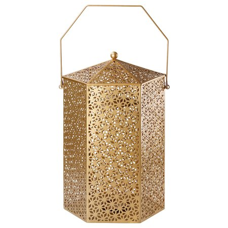 LJUV Lantern for block candle - gold-colour - IKEA