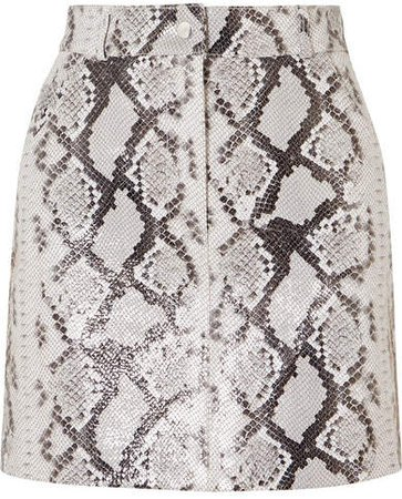 Snake-print Leather Mini Skirt - Ivory