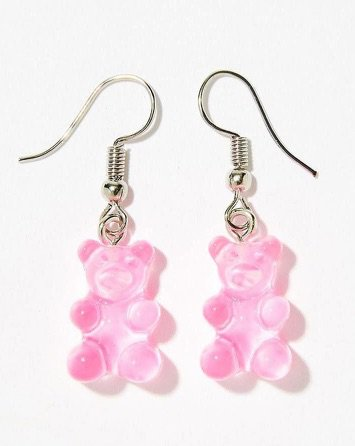pink gummy bear earrings aesthetic filler cute food candy