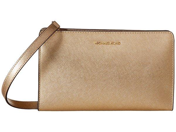 MICHAEL Michael Kors - Jet Set Travel Large Crossbody Clutch (Pale Gold) Clutch Handbags