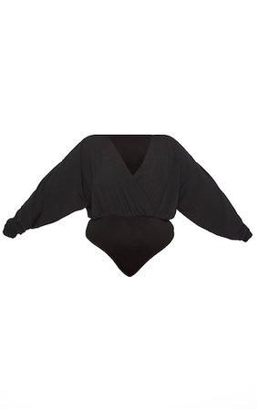Plus Black Crepe Plunge Bodysuit   Plus Size   PrettyLittleThing
