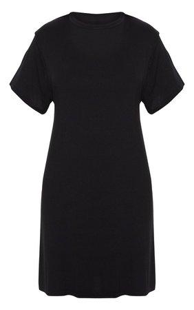 Basic Black Short Sleeve T Shirt Dress | PrettyLittleThing USA