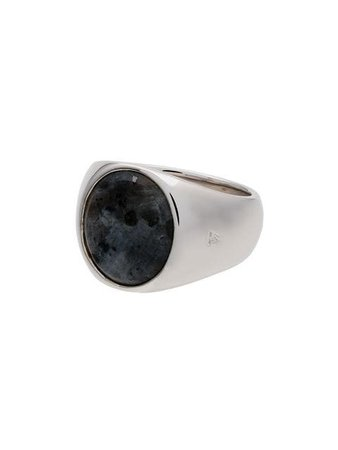 Tom Wood sterling silver and opal Oval Larvikite ring