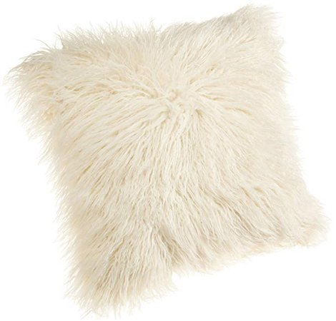 Amazon.com: Brentwood 18-Inch Mongolian Faux Fur Pillow, White: Home & Kitchen