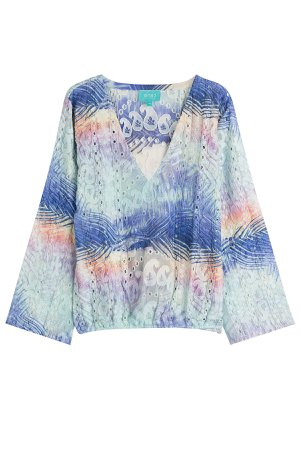Printed Silk Top with Beading Gr. M