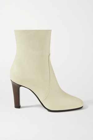Blu Leather Ankle Boots - Off-white